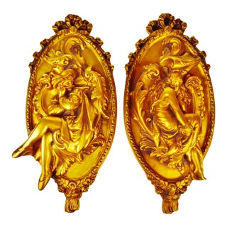 Victorian Style High-Relief Gold Gilt Plaster Man & Woman Wall Plaques - a Pair