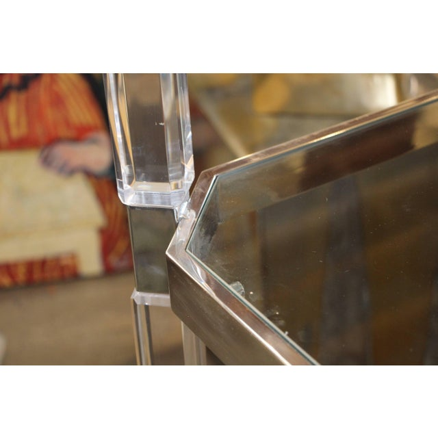 Large Charles Hollis Jones Étagère in Nickel and Lucite For Sale - Image 12 of 13