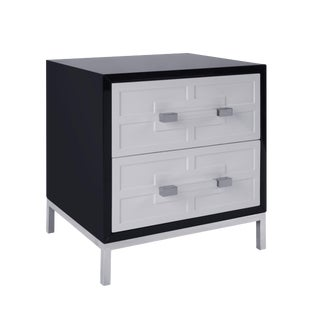 Pasargad Firenze Black Side Table With 2 Drawers For Sale