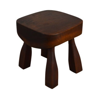 Studio Crafted Small Stool Signed W. W. 1942 For Sale