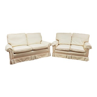 Vintage Highland House Hickory Upholstered Cream Loveseats - a Pair For Sale