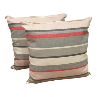 Contemporary Gray and Pink Striped Pillows - a Pair For Sale