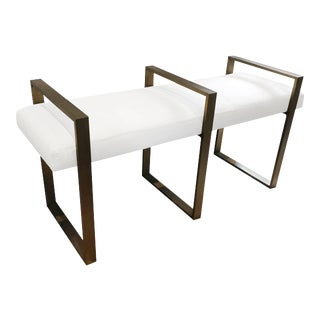Triple Rectangle Bench in Solid Brass and Antique Finish For Sale
