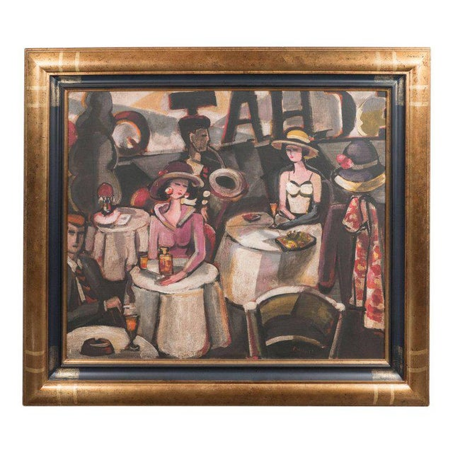 """Art Deco Oil on Canvas Painting, Entitled """"Aux Chat Qui Peche"""" For Sale - Image 11 of 11"""