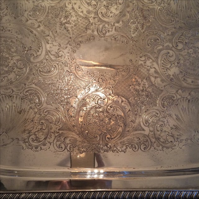Silverplate Serving Tray For Sale - Image 9 of 11