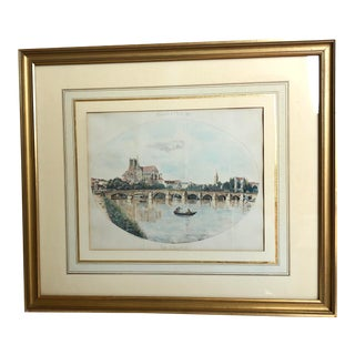 """Late 19th Century Antique """"Vue D'Auxerre"""" French Print For Sale"""