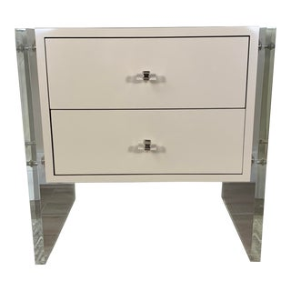 1970's Mid Century Nightstand With Lucite Frame Legs For Sale