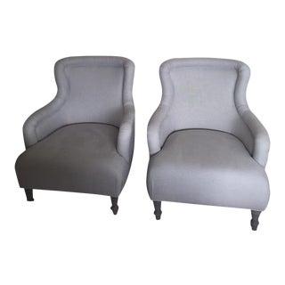 Light Gray Linen Chairs - A Pair