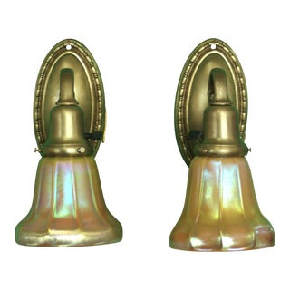 Heavy Brass Sconces With Art Glass Steuben Shades - a Pair For Sale