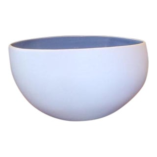 Small White Nested Bowl With Blue Interior For Sale