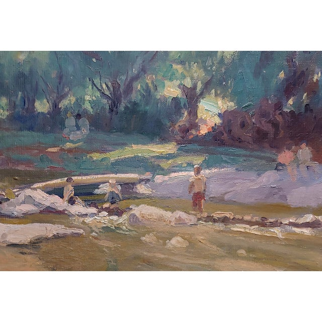 Americana Summer at the River-California Impressionist Oil Painting-E. Andia For Sale - Image 3 of 8