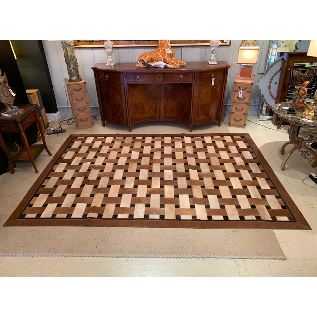 Geometric Patchwork Cowhide Area Rug For Sale - Image 13 of 13