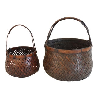 Vintage Japanese Hand-Woven Baskets W/Handles - Set of Two For Sale