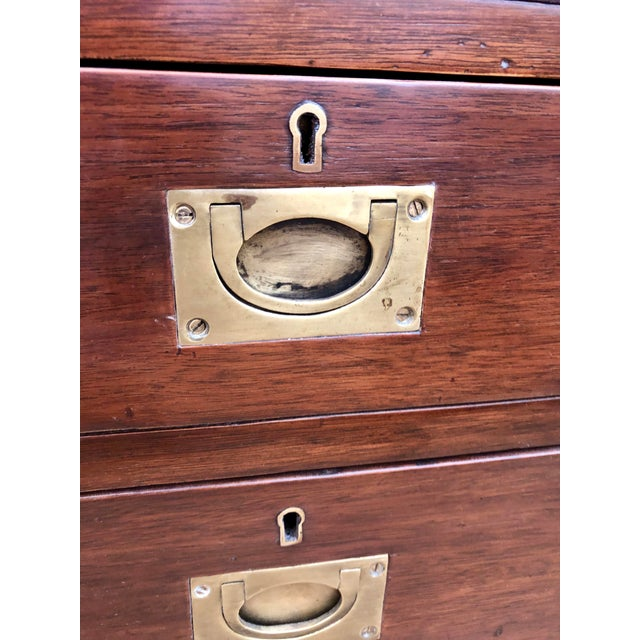 Late 19th Century English Mahogany 9-Drawer Campaign Desk With Sage Leather Top For Sale - Image 5 of 6