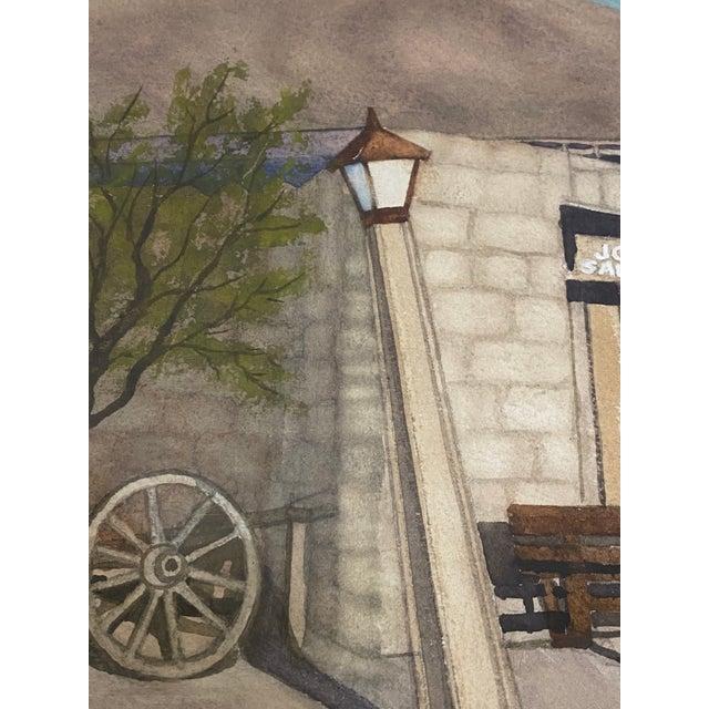 "Sky Blue Art Ellis ""Calico Mine, Joe's Saloon"" Original Watercolor C.1980 For Sale - Image 8 of 12"