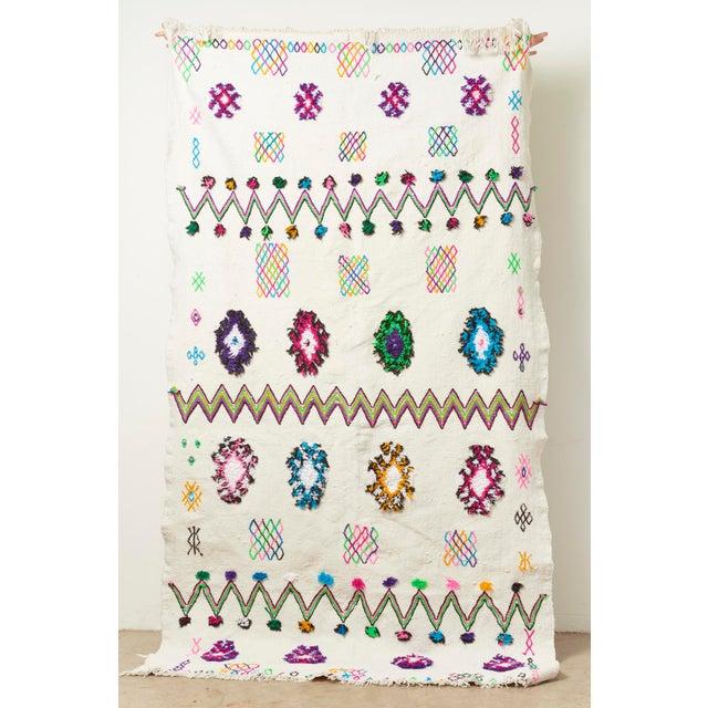 White & Multicolor Moroccan Blanket - Image 2 of 4