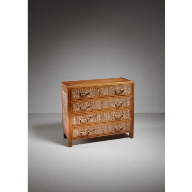 1950s Jean Touret oak and wicker commode for Marolles, France, 1950s For Sale - Image 5 of 5