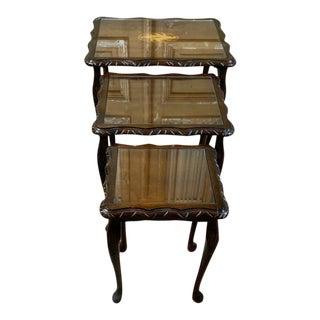 Vintage Walnut Glass Top Nesting Tables - Set of 3 For Sale