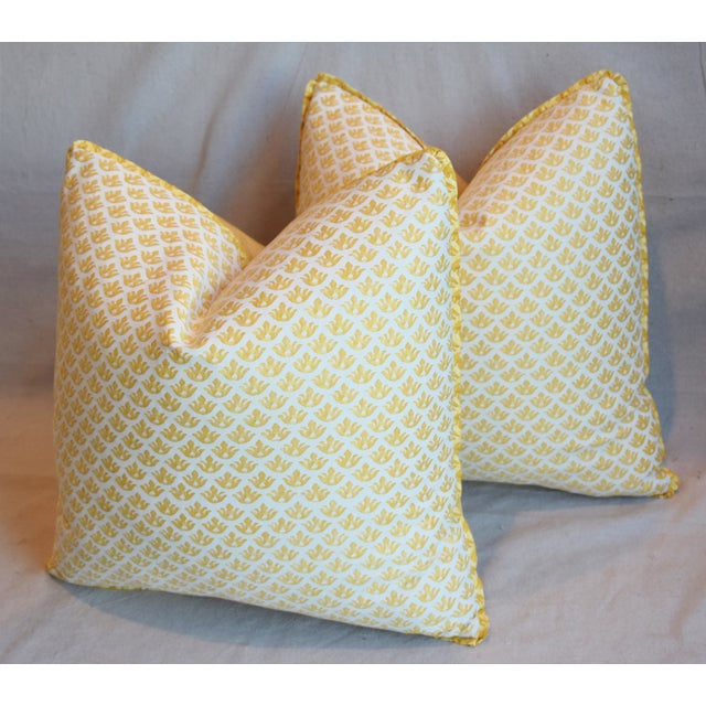 """Yellow Italian Mariano Fortuny Canestrelli Feather/Down Pillows 20"""" Square - Pair For Sale - Image 8 of 13"""