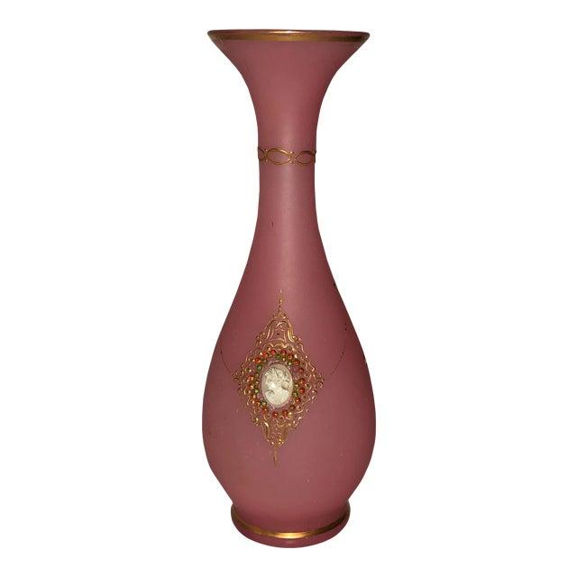 Vintage Murano Italian Pink Opaline Vase For Sale