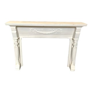 19th Century Federal Carved White Fireplace Mantel With Columns For Sale