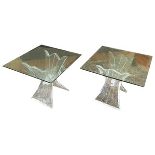 Mid-Century Lucite and Glass Side Tables - A Pair For Sale