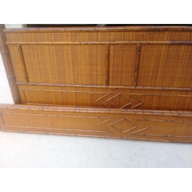 Palm Beach Regency Vintage Queen Size Faux Burnt Bamboo and Weaved Rattan Bed Frame Headboard For Sale In West Palm - Image 6 of 8
