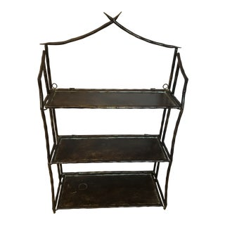 1990s Anthropologie Asian Mounted Metal Rack For Sale