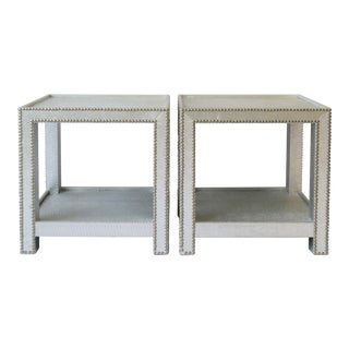 Silver Snakeskin-Style End Tables or Nightstands - a Pair For Sale