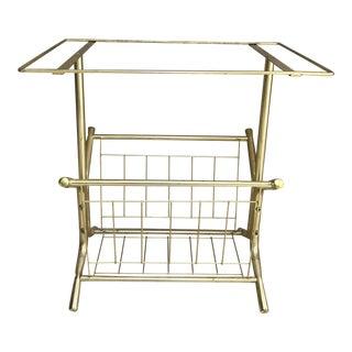 Mid-Century Modern Vintage Brass Side Table Magazine Rack For Sale