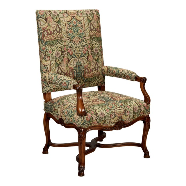19th Century French Louis XIV Armchair Covered In Old World Style Tapestry Fabric For Sale