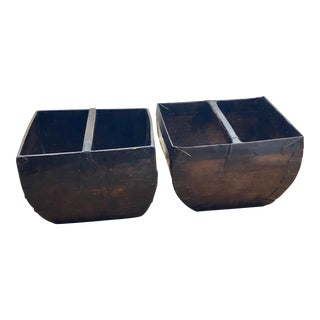 Antique Chinese Wood Rice Grain Measure Buckets With Handles - a Pair For Sale