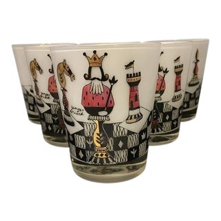 Georges Briard Chess King and Queen Tumblers - Set of 6 For Sale