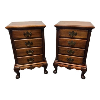 Solid Mahogany Queen Anne Style Nightstands by Continental Furniture - a Pair