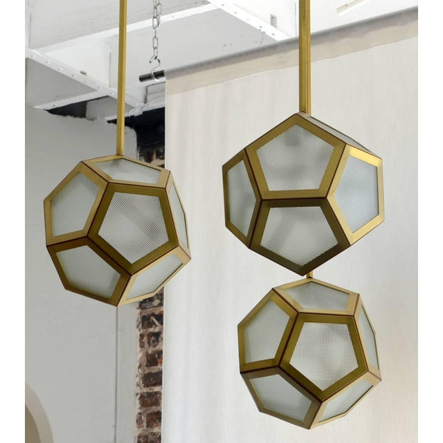 Traditional Large Cluster Chandelier of Three Pentagone Lanterns by Design Frères For Sale - Image 3 of 6