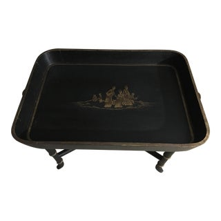 Vintage Chinoiserie Hand Painted Wooden Rectangle Tray Table For Sale