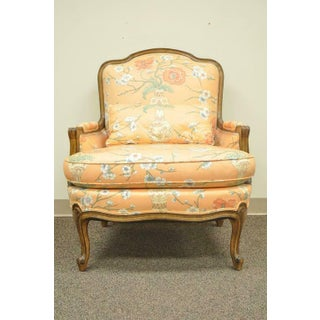 1950s French Provincial Louis XV Style Shell Carved Bergere Arm Chair and Ottoman Preview