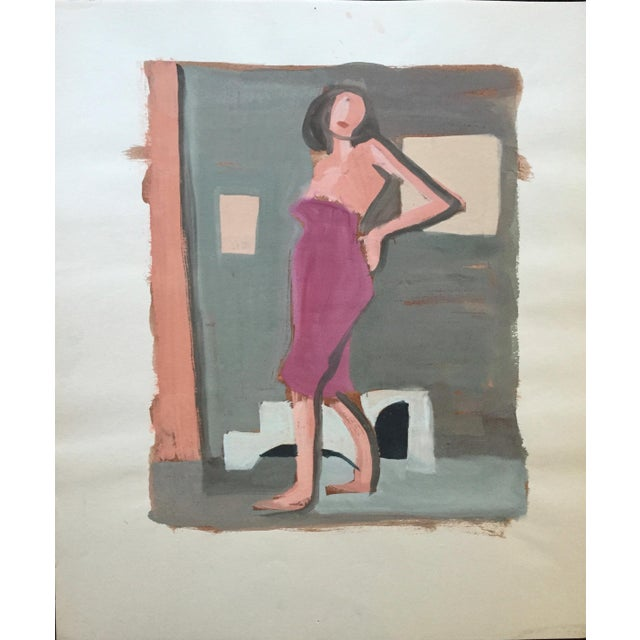 "From the estate of Jerry Opper & Ruth Friedmann Opper Angelina c. 1940-1950's Gouache on Paper 15"" x 18"", Unframed ***..."