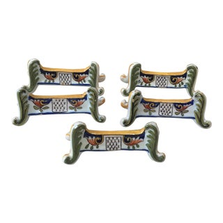 Set of 5 Faience Knife Rests Desvres Circa 1890 For Sale