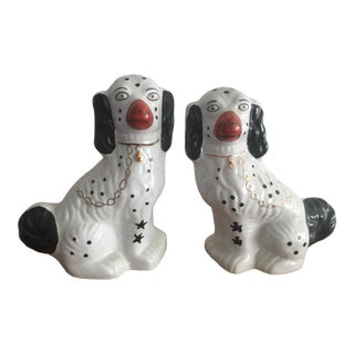Vintage Mid-Century Black and White Staffordshire Dog Figurines - a Pair For Sale