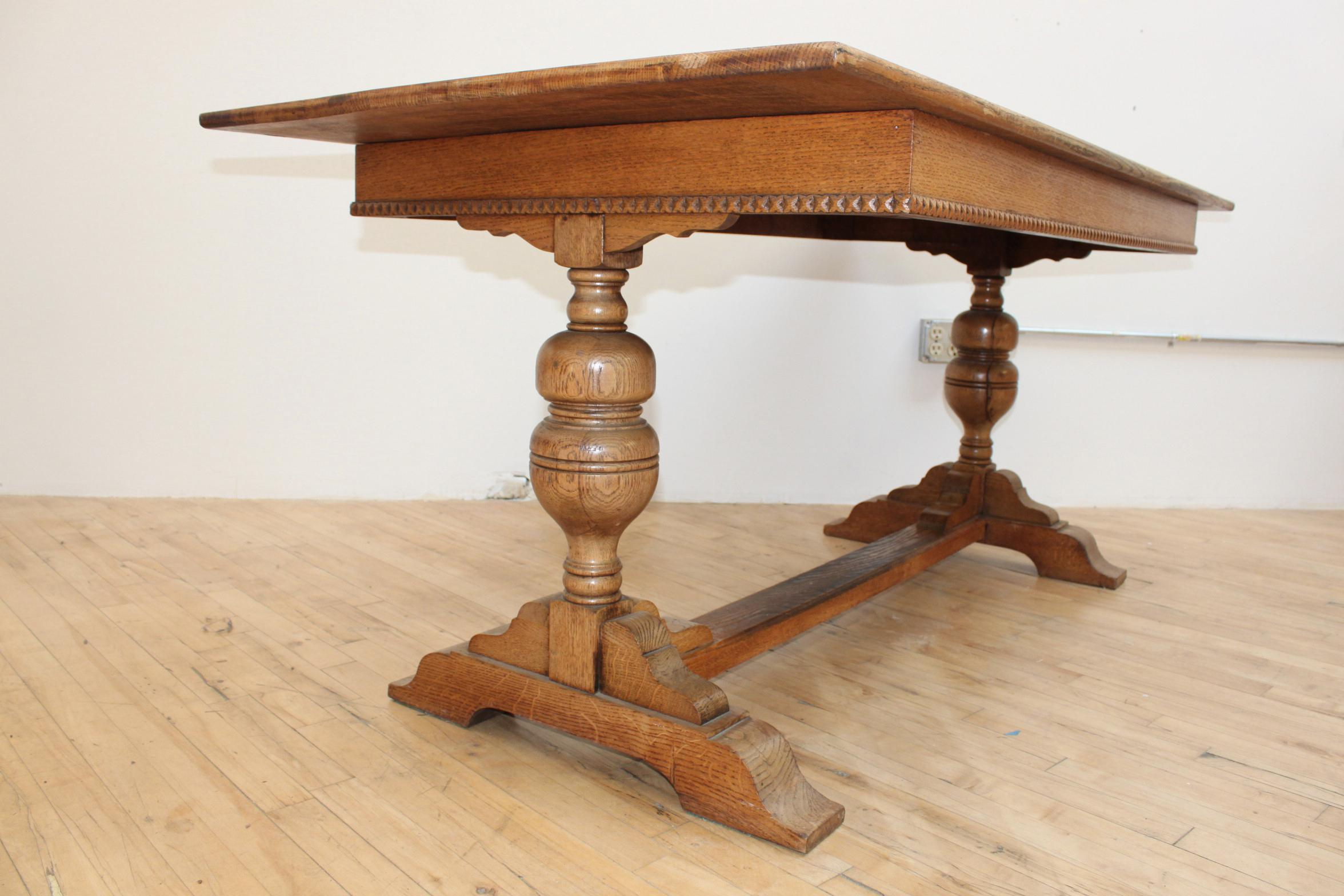 English Traditional Antique Solid Oak Refectory Trestle Table  Jacobean  Writing Desk For Sale   Image