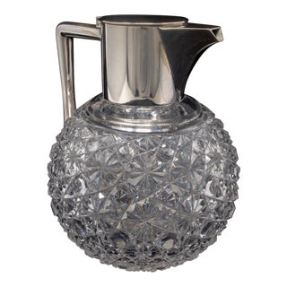 Antique French Hobnail Cut Glass and Silver Claret Jug For Sale