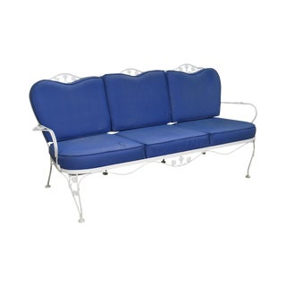 Woodard Ivy White & Blue Wrought Iron Patio Sofa For Sale