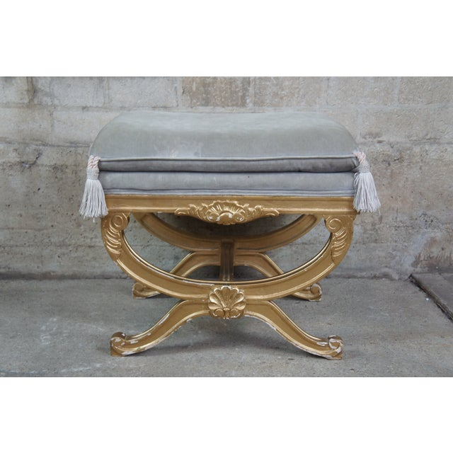 Vintage French Empire Regency Style Gold Vanity Stool For Sale - Image 4 of 13