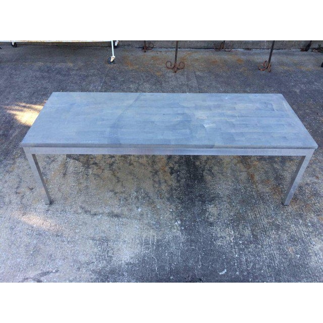 Contemporary 1990s Minimalistic Slate Coffee Table With Aluminum Base For Sale - Image 3 of 11