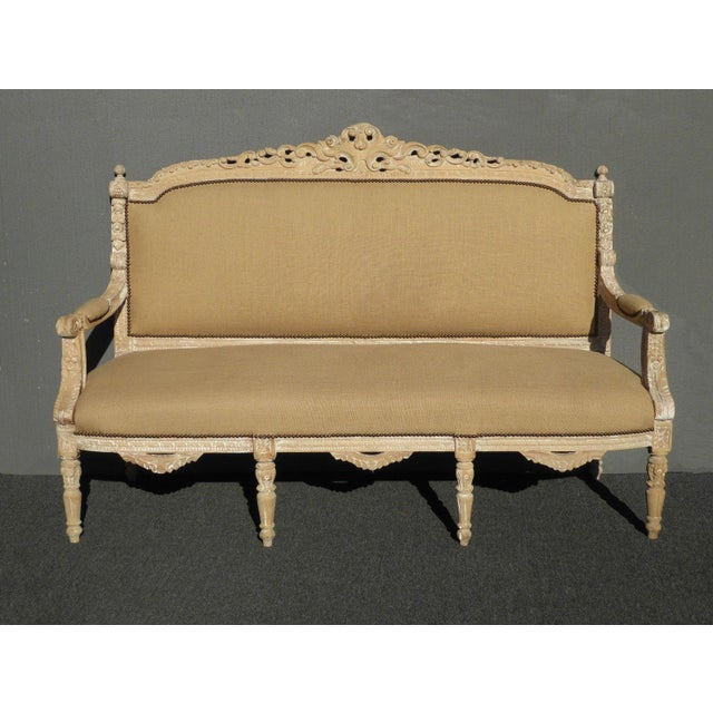French Provincial Burlap & Carved Wood Settee For Sale - Image 10 of 10