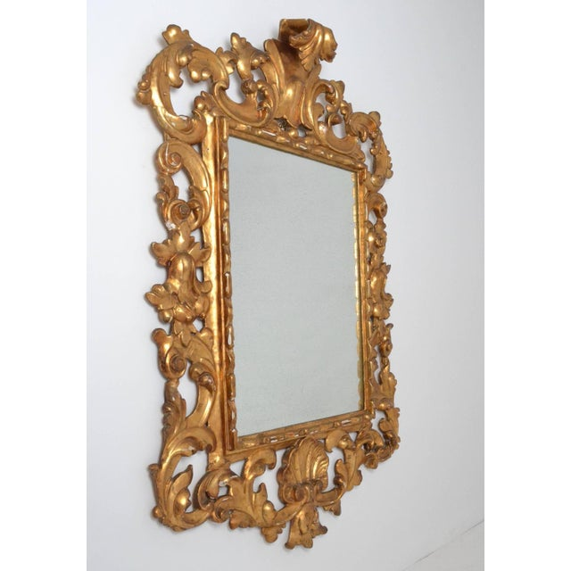 1950s Large Rococo Style Giltwood Mirror Italy circa 1950s For Sale - Image 5 of 7