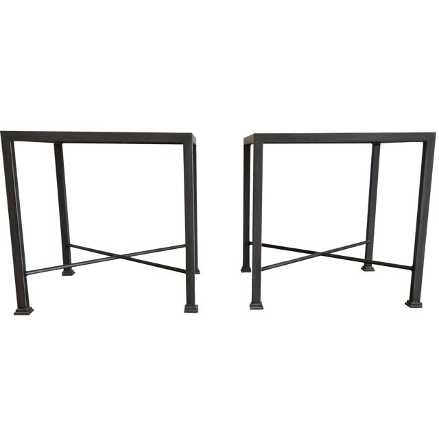 Custom Iron and Wood Side Tables - A Pair - Image 1 of 6
