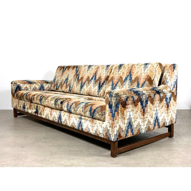 Unique Mid Century Modern sofa in the style of Harvey Probber circa 1960's Awesome zig zag patterned velvet three seat...