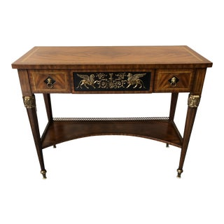 Banded Crotch Mahogany Regency Style Sideboard Console Table For Sale